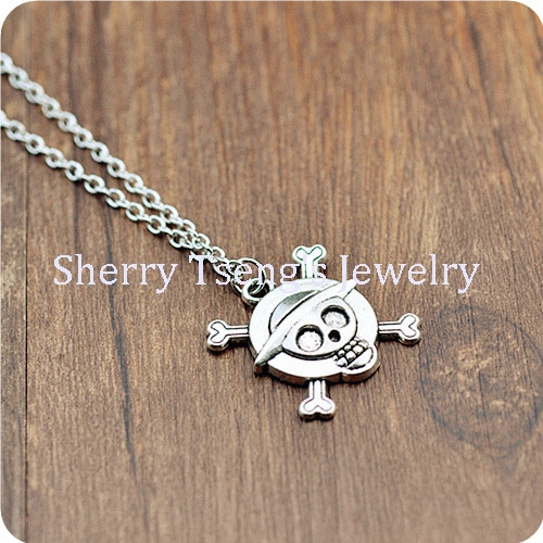 Free Shipping 10pcs a lot Cheap Jewelry Antique Silver Plated Metal Unique Pirate Skeleton Alloy Charm Pendant Necklace(China (Mainland))