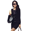 Buttons Winter Dresses 2016 Full Sleeves Cotton Polyester Women Dress O Neck Women Clothes Casual Dresses