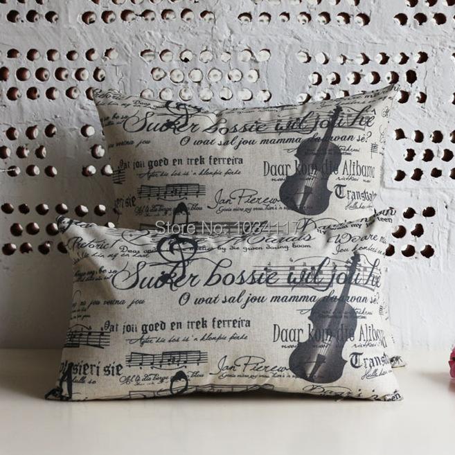 Simple Flaxen 45*45cm cotton linen pillow sofa cushion cover lumbar wholesale,violin printed Series pillowcase for seat/sofa/car(China (Mainland))