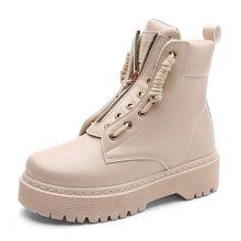 Artı boyutu 35-42 Martins botları yeni PU deri yarım çizmeler kadın sonbahar kış düz platform ayakkabılar Zip motosiklet patik(China)