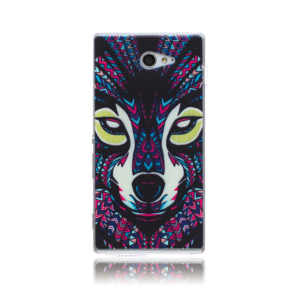 2015 sony xperia m2 case, Wolf Pattern painting TPU Rubber Flexible Soft Case phone case - SanChuen's store