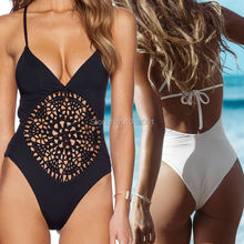 White Black crochet thong one piece swimsuit Swimwear Women Sexy bodysuit hollow out Bathing suit  Backless Monokini bather V13(China (Mainland))