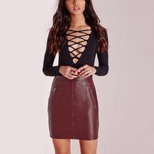 Hot Women PU Leather Club Mini Slim Skirt Bodycon High Waist Pocket Pencil Skirt LL2