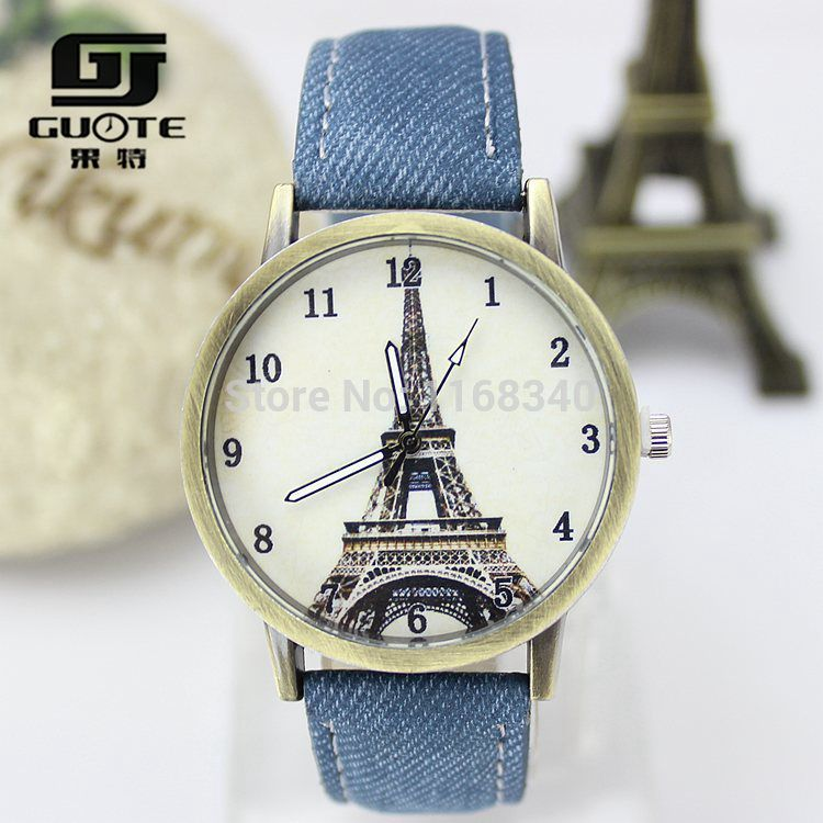 GUOTE Brand Women Eiffel Tower Denim Leather Quartz Watch Casual Wristwatch Ladies Dress Relogio Feminino Unisex - Fashion magic Zone store