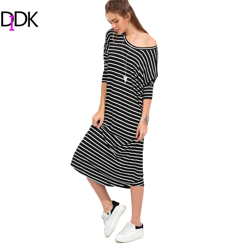 DIDK New Woman Dress 2016 Casual Summer Black and White Striped Long Sleeve Round Neck Shift Loose Midi Dresses(China (Mainland))