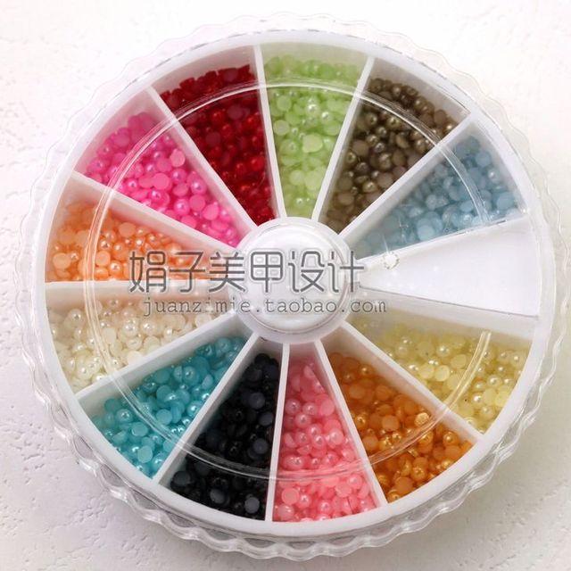 2mm 1200 nail art pearl diamond box revitalizing 12 jelly color diy finger zp07