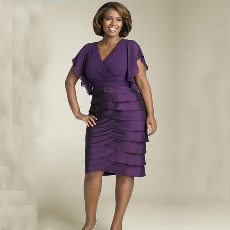 Vestido de madrinha a line cap sleeves tiered purple plus for Purple plus size dresses for weddings