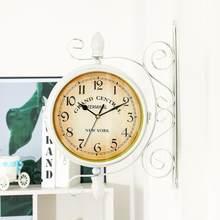 Podwójna jednostronna ścienna zegar europejska Retro cyfrowa ściana zegary dekoracja do domu akcesoria vintage wiszące zegarek dwustronny cichy(China)