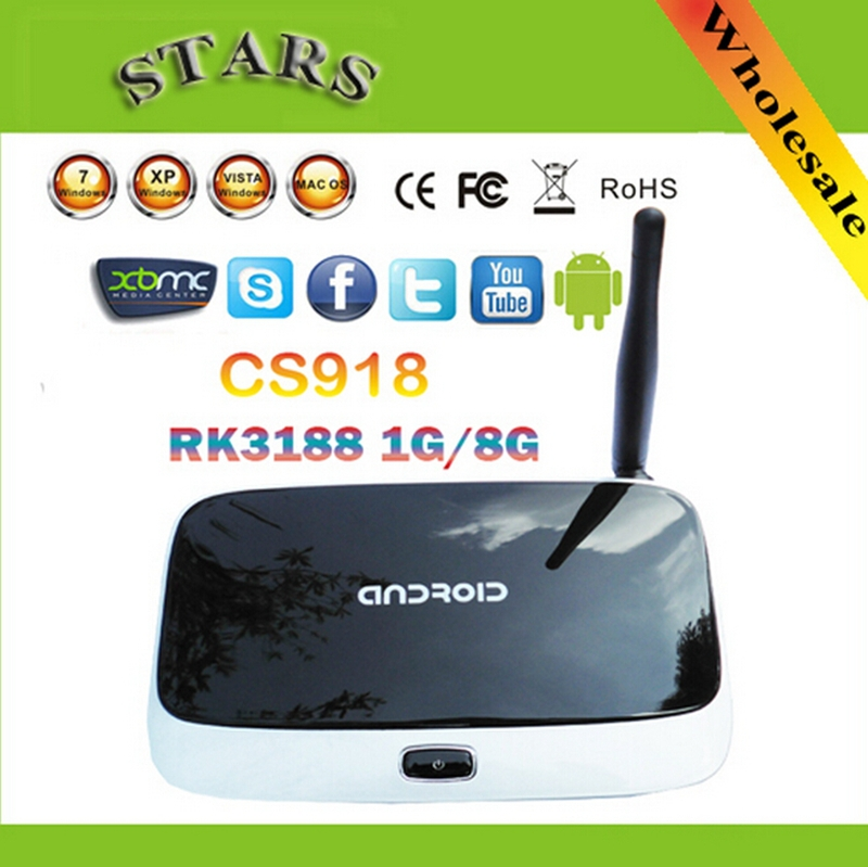 CS918 Andoid 4.2 tv box android1G/8G Quad Core Smart Media Player HD XBMC Kodi Fully Loaded WiFi Antenna With Remote Control(China (Mainland))