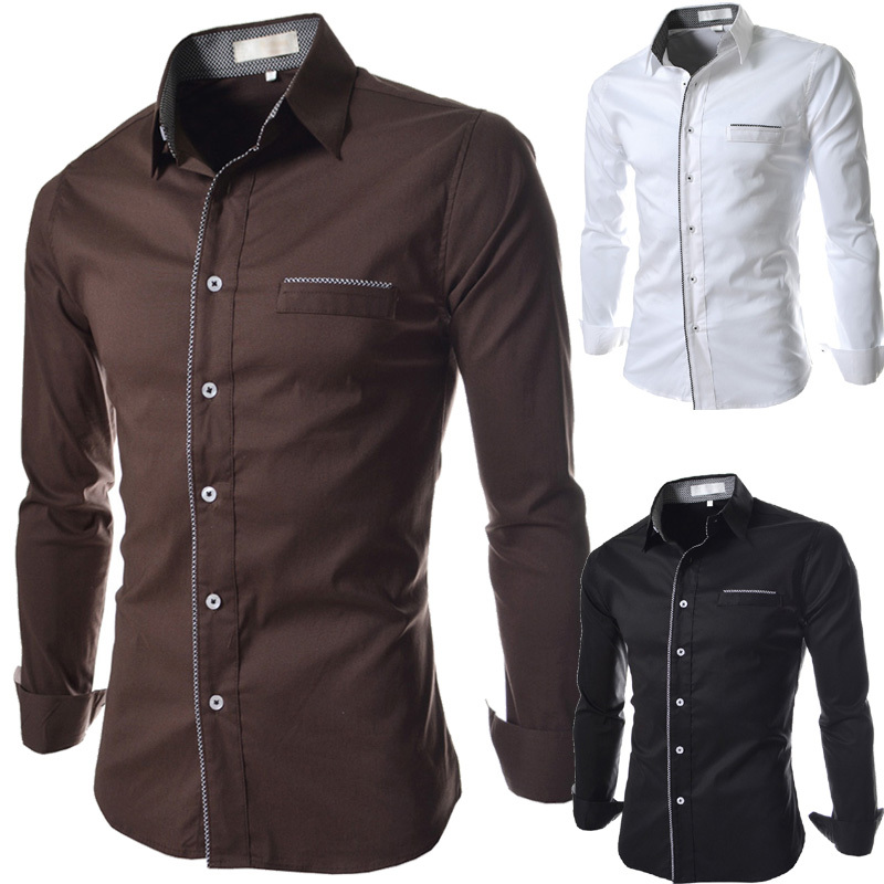 2015 new fashion plain cheaper mens dress shirts casual social long sleeve camisas masculina slim man blusas  -  DT boutique store
