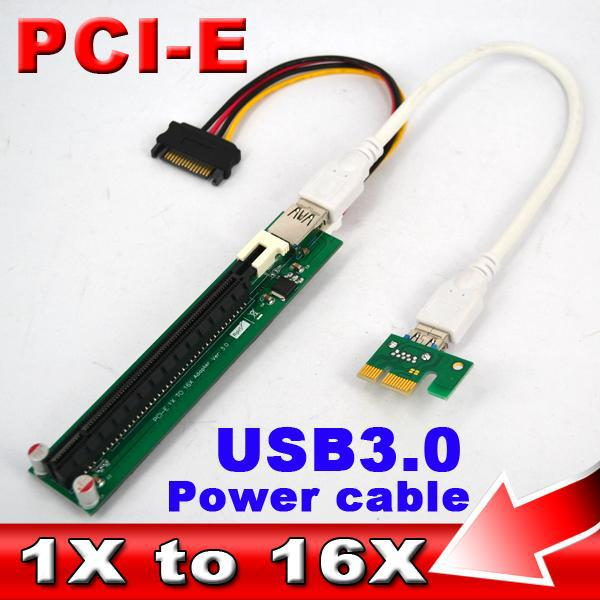 5pcs 60CM Molex Power PCI-E Riser 1x to 16x Extension Cable PCI Express Riser USB 3.0 Card Adapter Converter for Bitcoin Miner(China (Mainland))