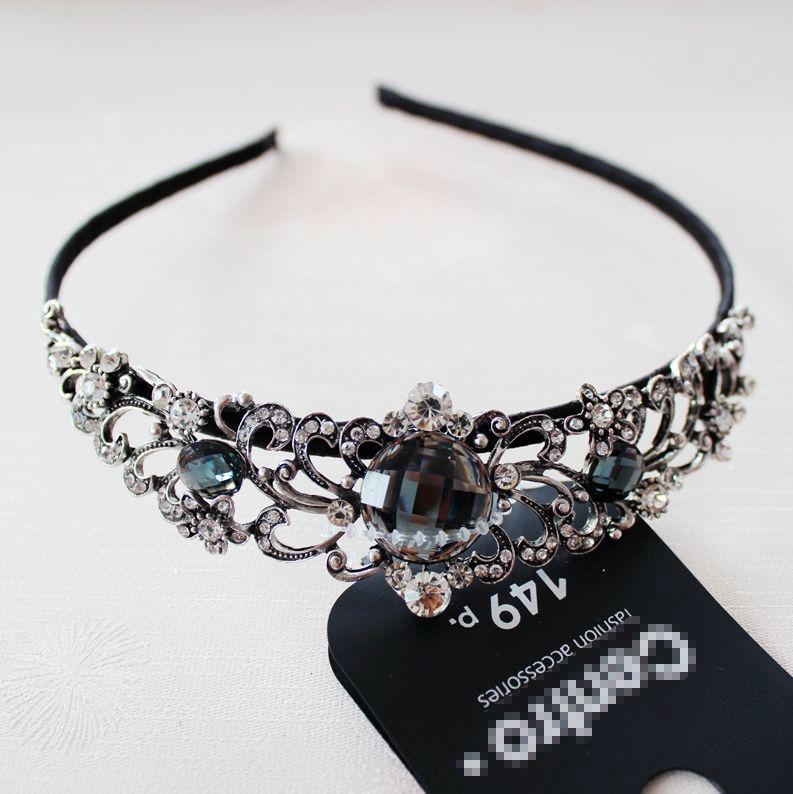1PC Head chain tiaras crowns hair jewelry luxury bridal hairband grey crystal flower headband wedding accessories - Fascinating Jewelry store