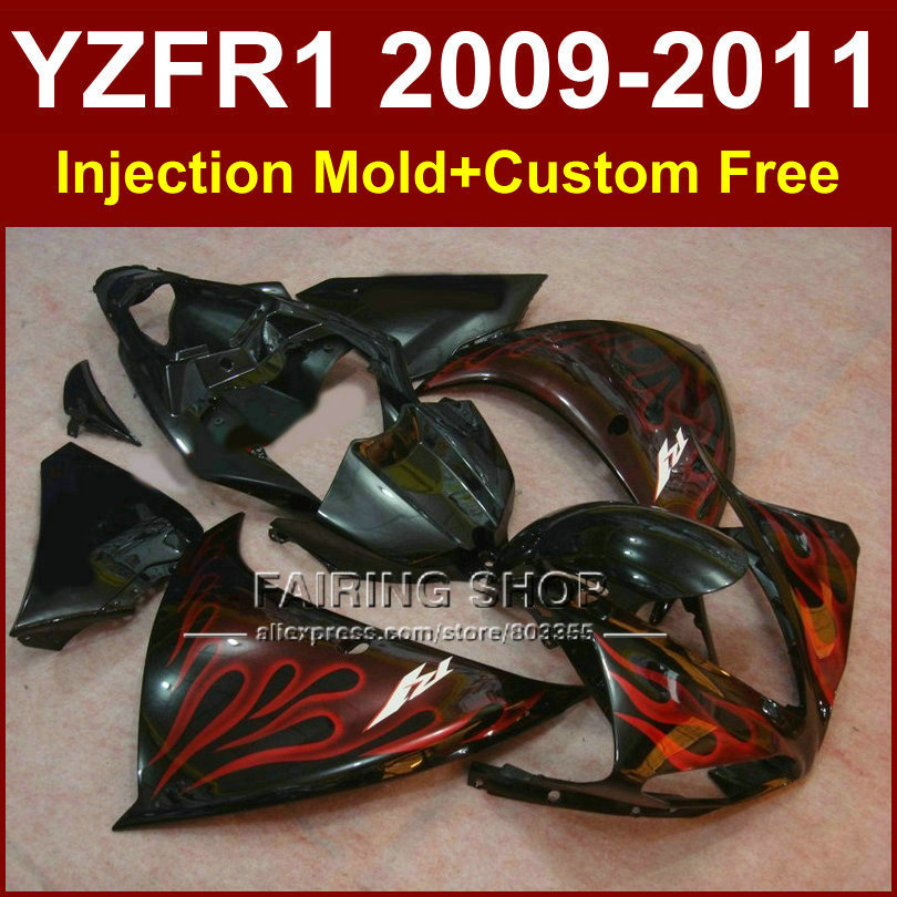 Red flame Injection mold Motorcycle parts YAMAHA fairings YZF-R1 09 10 11 12 YZF R1 2009 2010 2011 bodywork YZF1000 +7Gifts