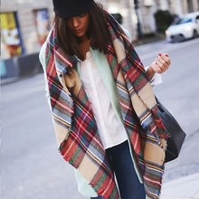 New Women Blanket Oversized Tartan Plaid Scarf Wrap Shawl Poncho Jacket Coat Stole RE3