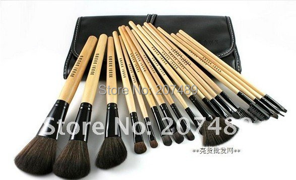 new portable 18 in1 brush sets High Grade pure natural Hair Makeup Kit cosmetic tool professional bag