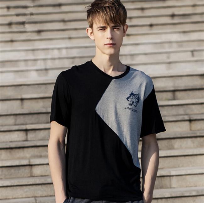 2015 New Arrival Summer Style Plus Size 3XL 3Color Patchwork T Shirt Men Sport Suit Juventus Shirt Men Fitness Skate LZC-507(China (Mainland))