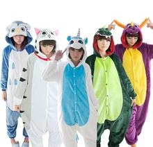 2016 New Dinosaur Stitch Winter Pajamas For Women/Men Warm Flannel Adult Homewear Winter Loungewear Sleep Couple Animal Pyjamas(China (Mainland))