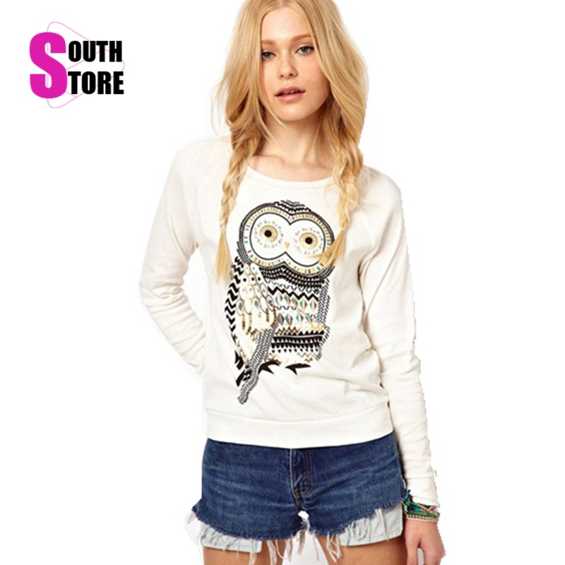Southstore 2016 New Fashion Animal Owl Printed Diamonds Sweatshirt Cotton Tracksuits Casual Pullover Sport Suit Women