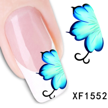 1 Sheet New Arrival Water Transfer Nail Art Stickers Decal Beauty Blue Flowers Design Manicure Tool (XF1552  Z)