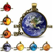 Antique Bronze Glass Cabochon Planet Pendant Chain Galaxy Earth Chock Necklace Art Picture Women Fashion Jewelry Accessories