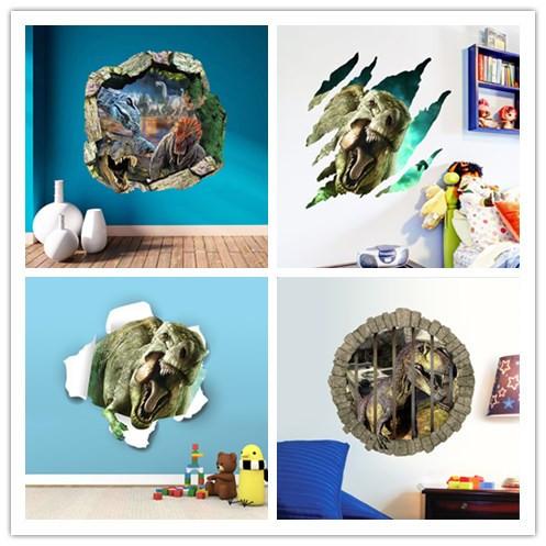 3d динозавры стены стикеры парк юрского периода украшения дома diy мультфильм детская комната наклейки на стены фильм искусства настенной росписи
