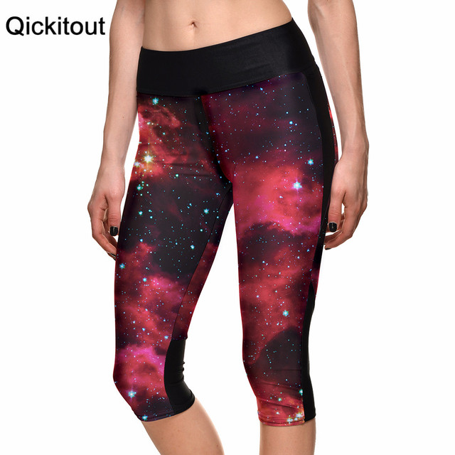 Сексуальный 2015 женщин 7 точка брюки женщин леггинсы галактика психоделический красная ...