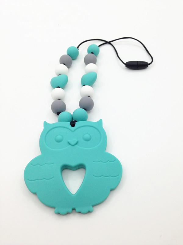 Горячие продажи ДЭБ БЕСПЛАТНО Силиконовые Прорезывания Зубов Ожерелье с большой сова кулон силикона жевать ожерелье с сердцем бусы оптовая