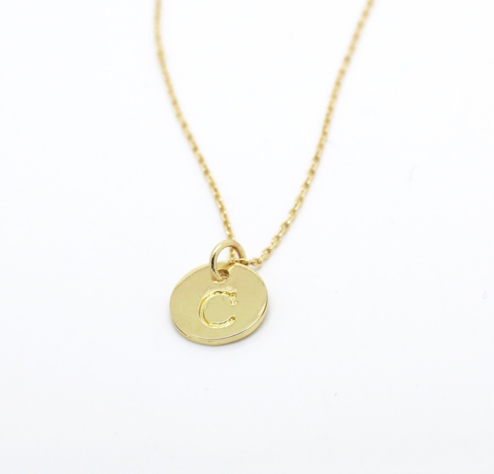 initial disc charm necklace monogram round disc chain necklace letter pendant tiny gold plated initial necklace everyday jewelry(China (Mainland))