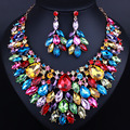 Luxury color large crystal necklace earring sets Lady wedding party Jewelry sets