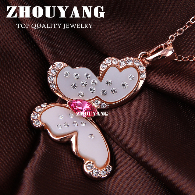 ZHOUYANG ZYN041 Flower Butterfly Necklace  Rose Gold Plated Fashion Jewellery Free Pendant Austria Crystal  Wholesale