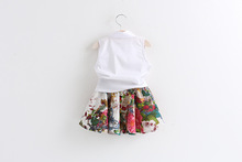 girl casual shirt clothes set with flower skirt summer item for girl fashion clothes printed children