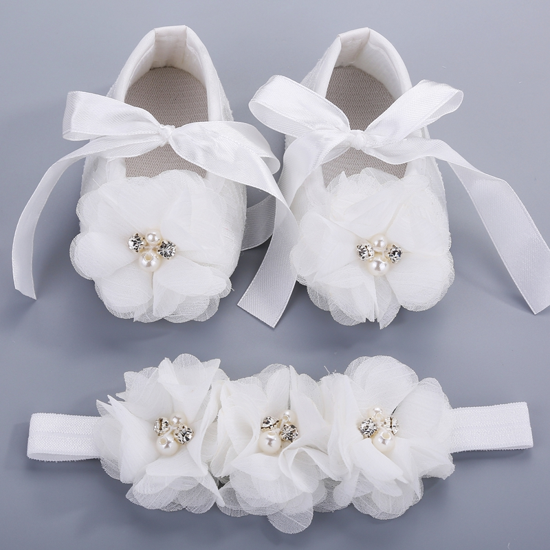 Ivory newborn Booties baby girls shoes toddler;infant rhinestones first walker baby shoes ballerina;girls baptism set #2B1932(China (Mainland))