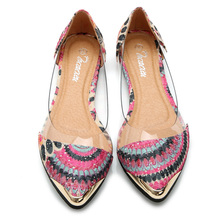 Women's Shoes Casual Floral Print Summer Sandals Pointed Toe Flats Jelly Shoes women shoes Plus Size 35-42 p5c87