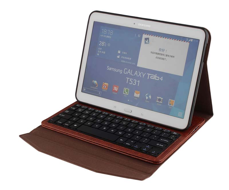 Crazy Horse Wireless Bluetooth Russian/Spanish/Hebrew Keyboard Leather Case Stand For Samsung Galaxy Tab 4 10.1 T530 T531 T535(China (Mainland))