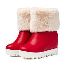 Meotina, botas de plataforma para Invierno para mujer, botas de nieve de felpa con cuña, botas de media caña, zapatos cálidos de piel, rojo, blanco, talla grande 42 43(China)