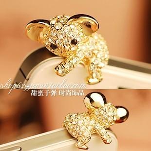 Bling Crystal Cute Koala Bear Earphone Cap Anti Dust Plug for iPhone 4 4S 5G Samsung S3 & Galaxy Note 2 N7100