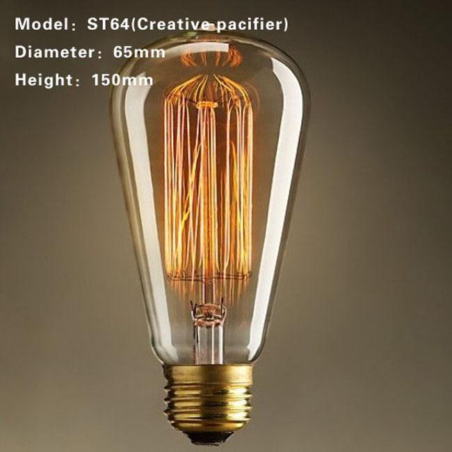 Free Shipping Retro DIY E27 Spiral Incandescent Light Handmade Fixtures Glass Edison Bulb 40W 110-240V Pendant Lamps ST64(China (Mainland))