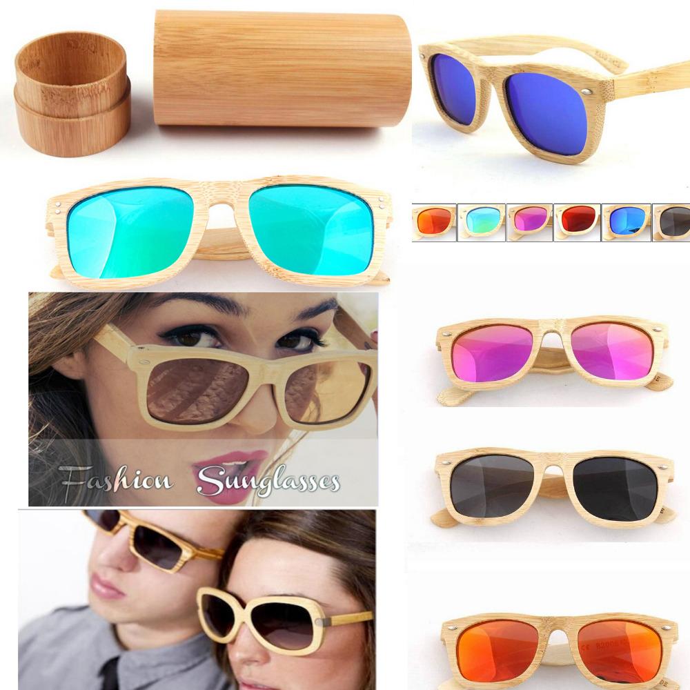 Cat Eye Bamboo Wood frame sunglasses Men Women glass Unisex UV400 polarized handmade oculos de sol feminino bamboo box - Laptoppartsmall store
