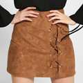 Shelikeit Autumn winter suede leather women skirt cross straps mini vintage preppy short skirt Winter high