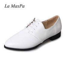La MaxPa 2018 Sonbahar Güz Dantel Up Kadın Oxford Ayakkabı Vintage yuvarlak Toe Kadınlar Flats Ayak Bileği Boots İngiltere Stil Bayanlar Vogue Düz(China)