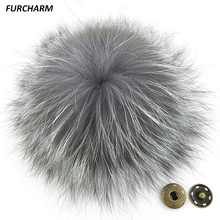 15cm Genuine Silver Fox Fur Pompons Natural Fox Fur Pom Poms Real Fur Ball Accessories for Hats Bags Shoes Scarf with Buttons(China (Mainland))