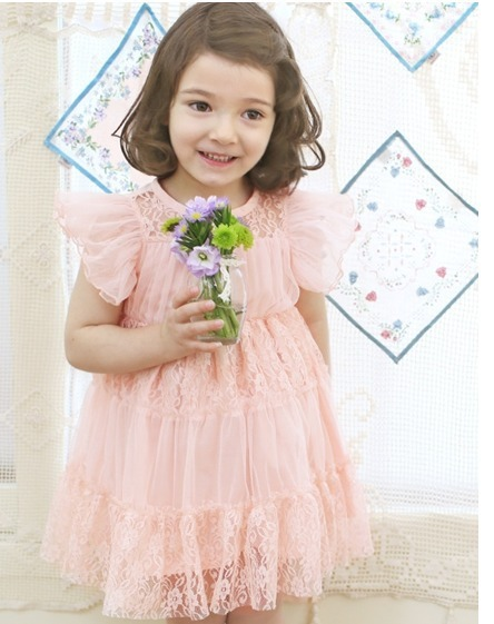 2013 summer  new arrival Korea girls lace yarn dress Princess Dress Flying sleeve hot sell free shipping  5pcs/lot  pink