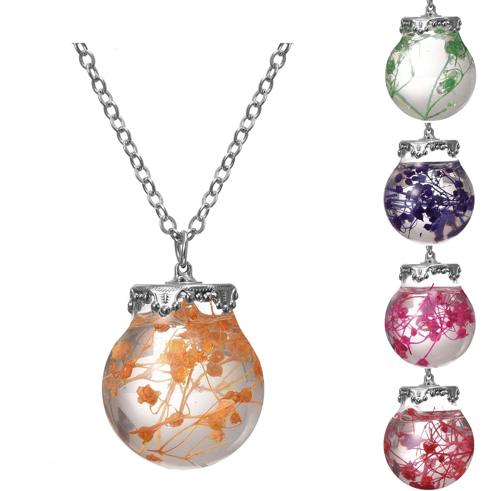 Beach Necklace Silver Plated with Glass Bottle Sea Ocean Life Dried Flower Choker Long Pendant Necklace for Women Party(China (Mainland))