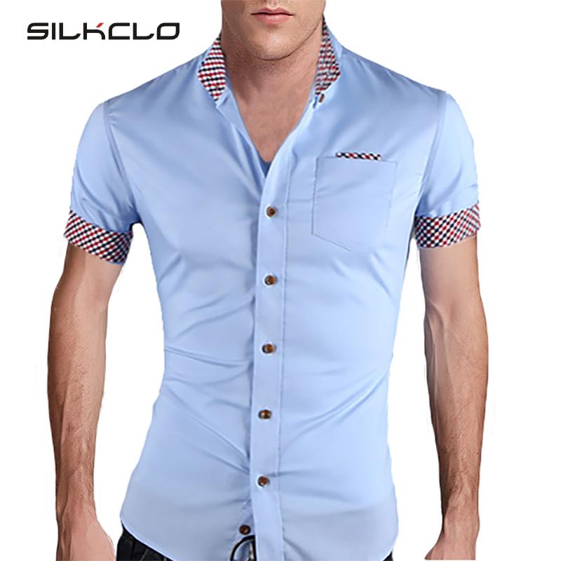 2015 summer fashion style mens plaid collar shirts brand for High quality mens shirts