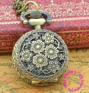 Coupon for wholesale buyer price good quality retro nice vintage woman new bronze mini flower pocket watch necklace with chain(China (Mainland))