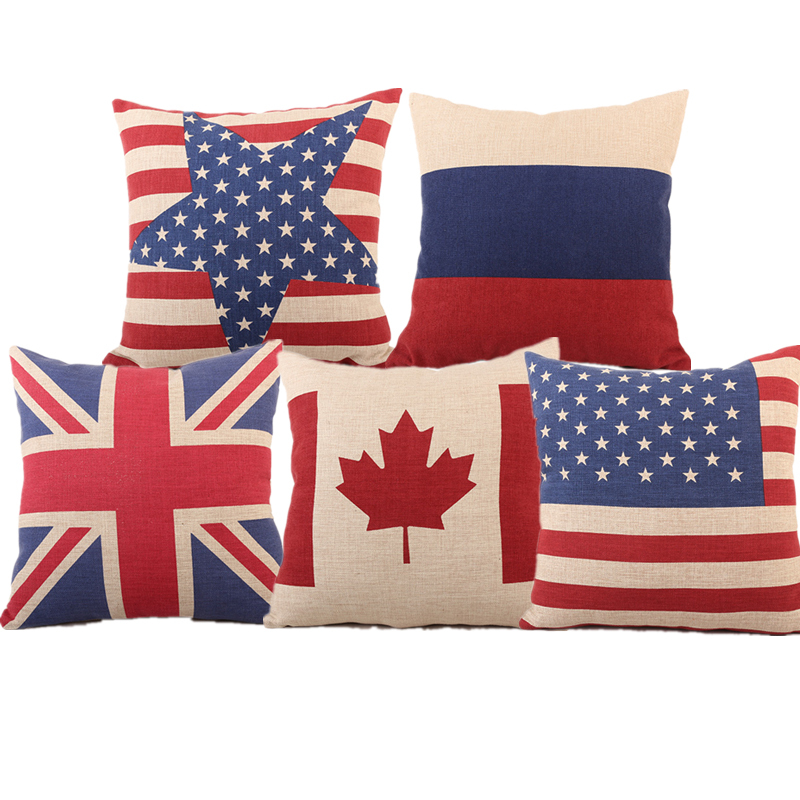 High Quality US UK Canada Russia National Flag Linen Cotton Cushion Cover For Sofa Car Bed Seat Pillow Case Modern Style Popular(China (Mainland))