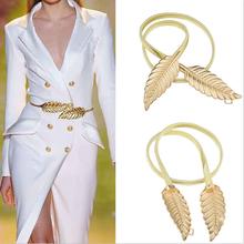 Новый модный женщины металлические листья эластичный пояс талии платье ремень пояс продвижение продажа оптовая продажа