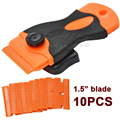 10PCS Automotive Double Edged Plastic Razor Blades and 1Pcs Long Handle Mini razor Scraper For Glue