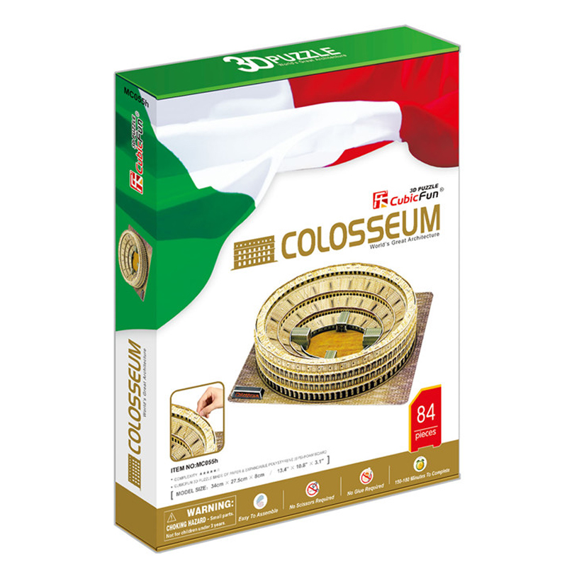 Kids Toys Cubic Fun 3D Puzzle Colosseum (Italy) Model DIY Puzzle Children Toys Birthday Gifts Educational Toys MC055h(China (Mainland))