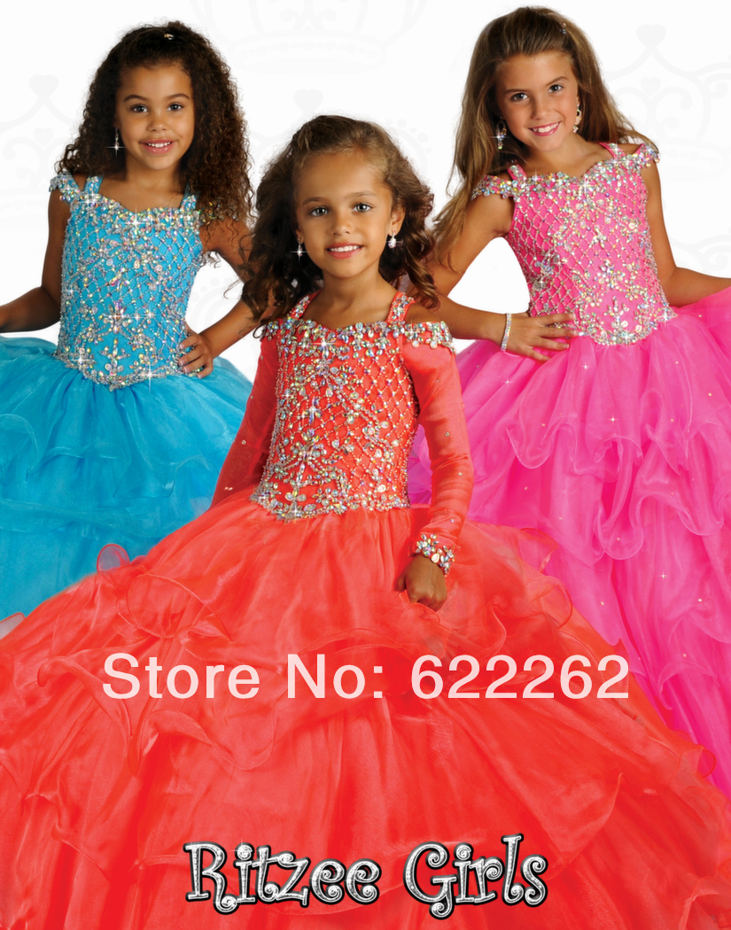 Big Discount ball gown halter sweep train organza pageant girls dress half sleeve beaded crystal new flower girl dress(China (Mainland))